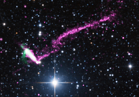 A pulsar moving at supersonic speeds about 23,000 light years from Earth.